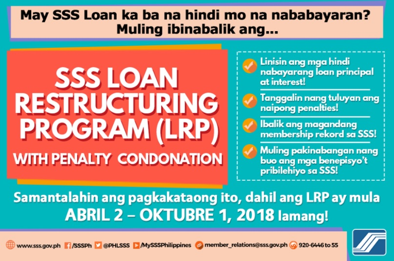 sss condonation program or loan restruturing program 2018